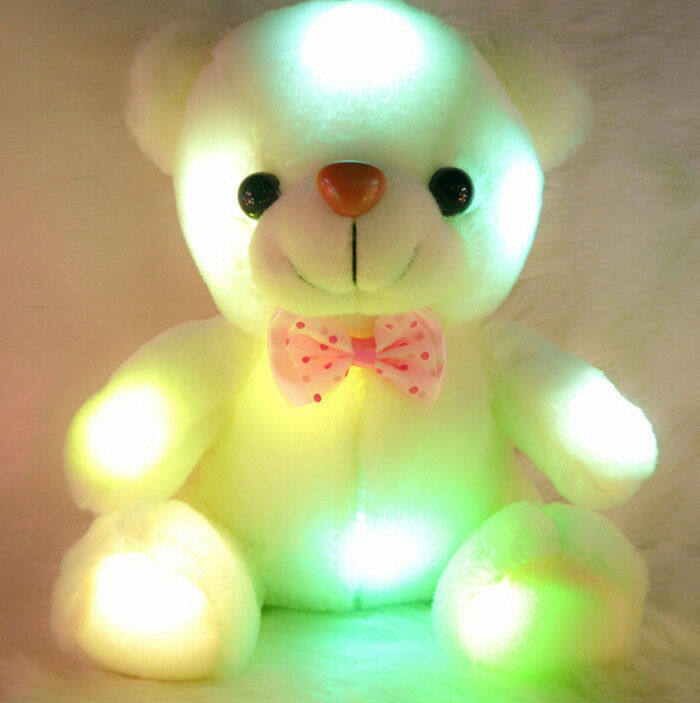 Led Light Up Bow Tie Teddy Bear Pillow Pets Plush Toy Soft