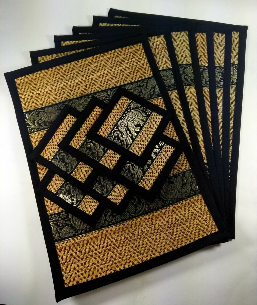 Black Set6 Gift Elephant Reed Silk Placemats Coasters