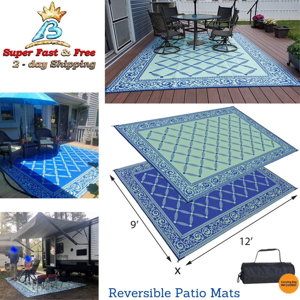 Camping Reversible Outdoor Mat RV Trailer Patio White