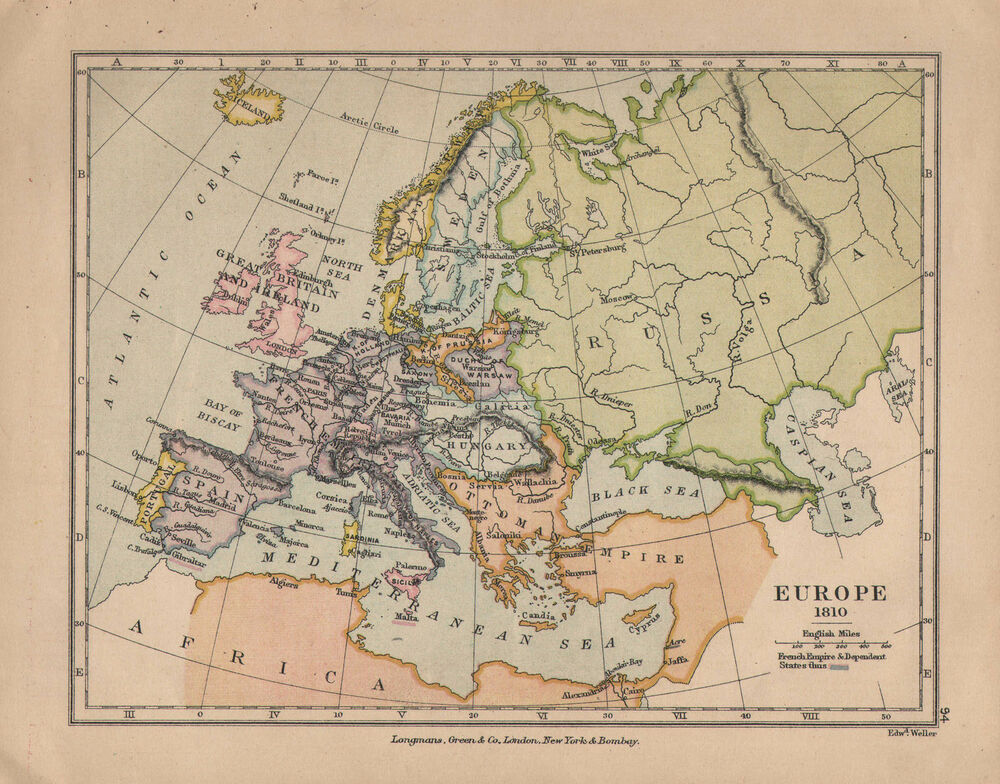 1899 Victorian Double Sided Map Europe 1810 Russian Campaign