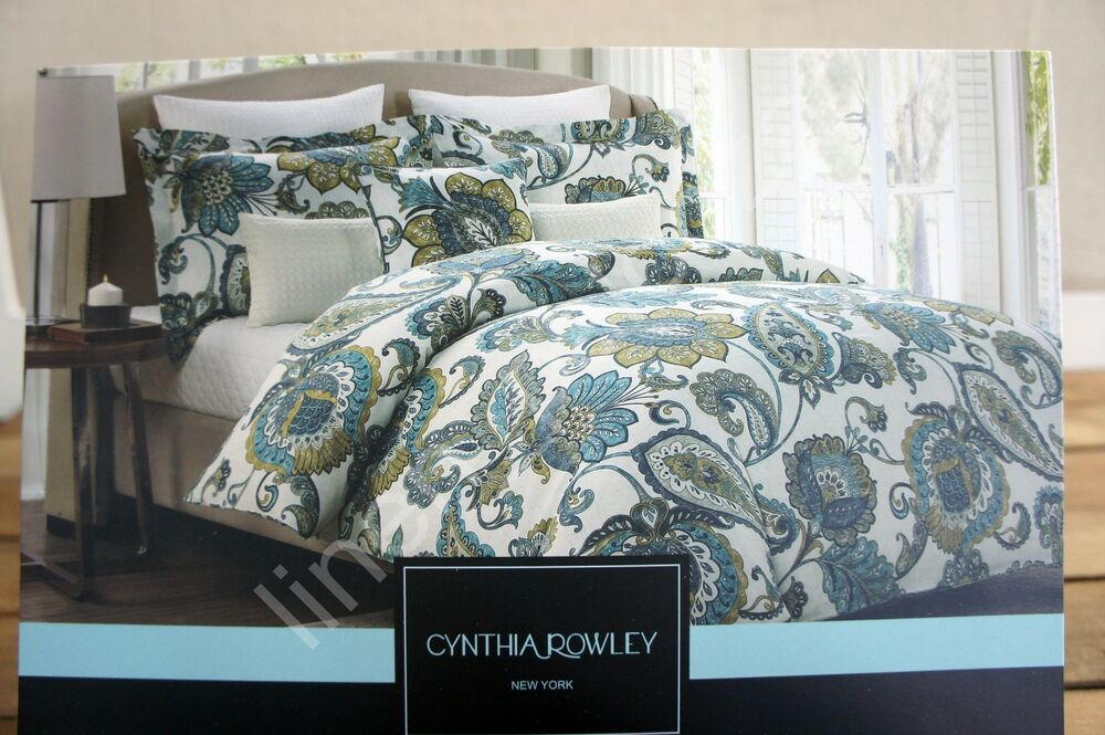 Cynthia Rowley Teal Aqua Gray Yellow Floral Jacobean 3pc