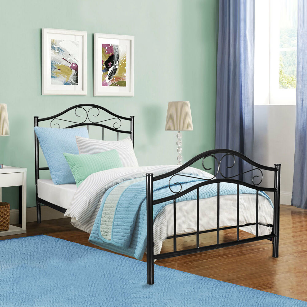 Metal Bed Frame Twin Size With Headboard Footboard Home