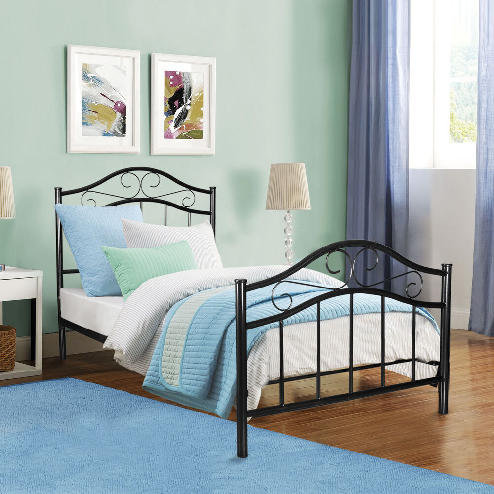 Metal bed frame twin size with headboard footboard home for Home furniture beds