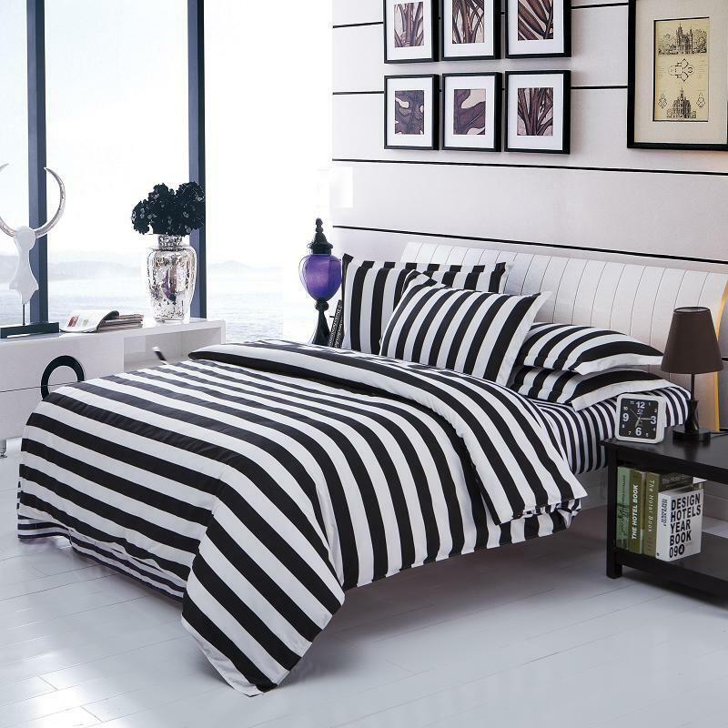 Black white stripe twin full queen duvet quilt cover - Housse de couette blanc et noir ...