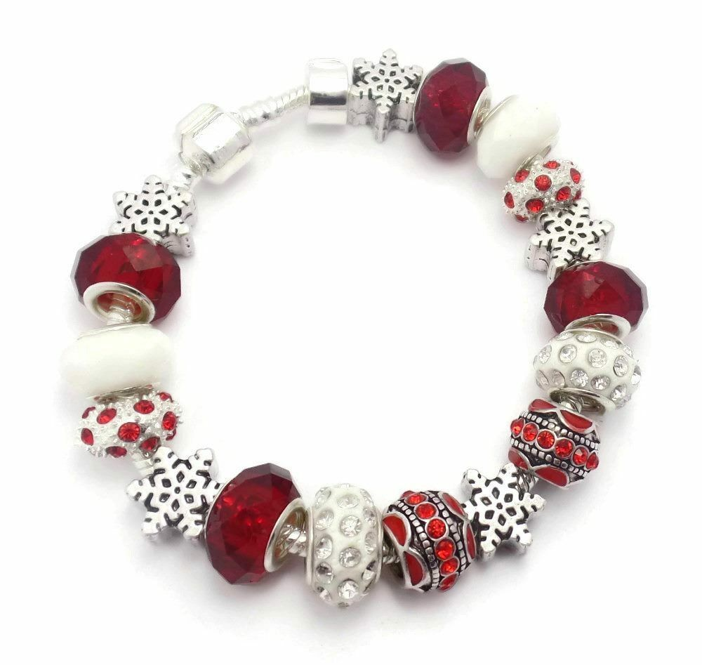 Silver Red White Christmas Snowflake Charm Bracelet With