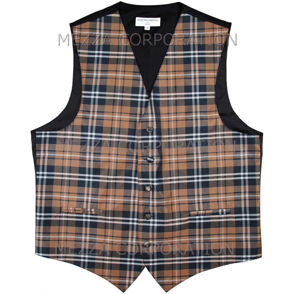 new men 39 s plaid tuxedo vest waistcoat only plaid checkers brown wedding formal ebay. Black Bedroom Furniture Sets. Home Design Ideas