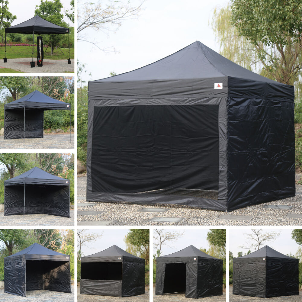 Abccanopy Delux Pop Up Canopy 10x10 Black Commercial