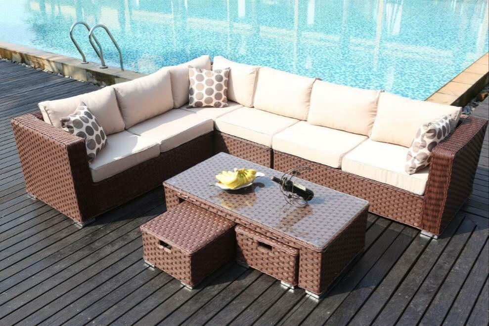 Conservatory modular 9 seater rattan corner sofa set for 9 seater sofa set
