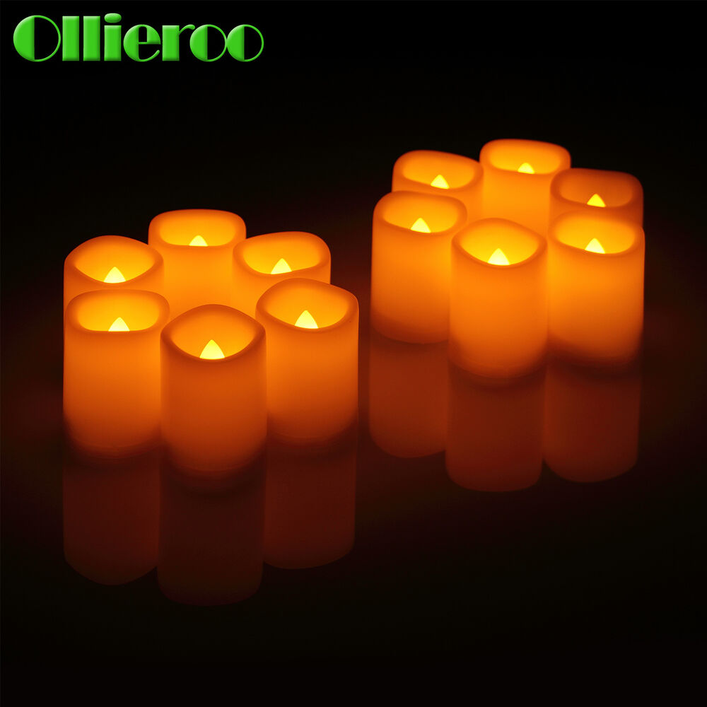 ollieroo set of 12 flameless led votive christmas candles with remote ivory ebay. Black Bedroom Furniture Sets. Home Design Ideas