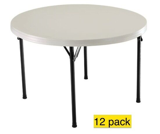 Lifetime plastic round tables 2968 46 inch almond color for 12 inch round table