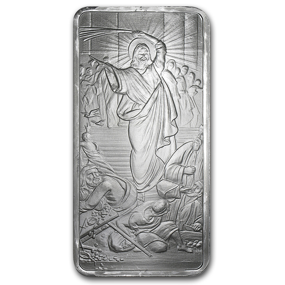 10 Oz Silver Bar Jesus Clears The Temple Sku 88726 Ebay