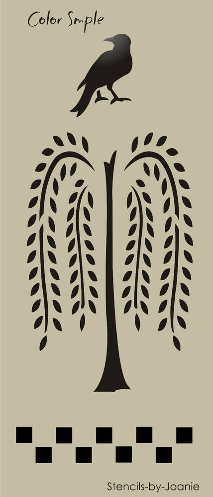 Lg Country Prim Stencil Willow Tree Crow Check Door Panel