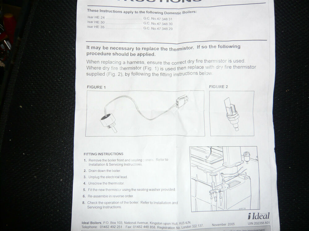 Ideal 174278 Wiring Harness Kit with new dry fire thermister   eBay