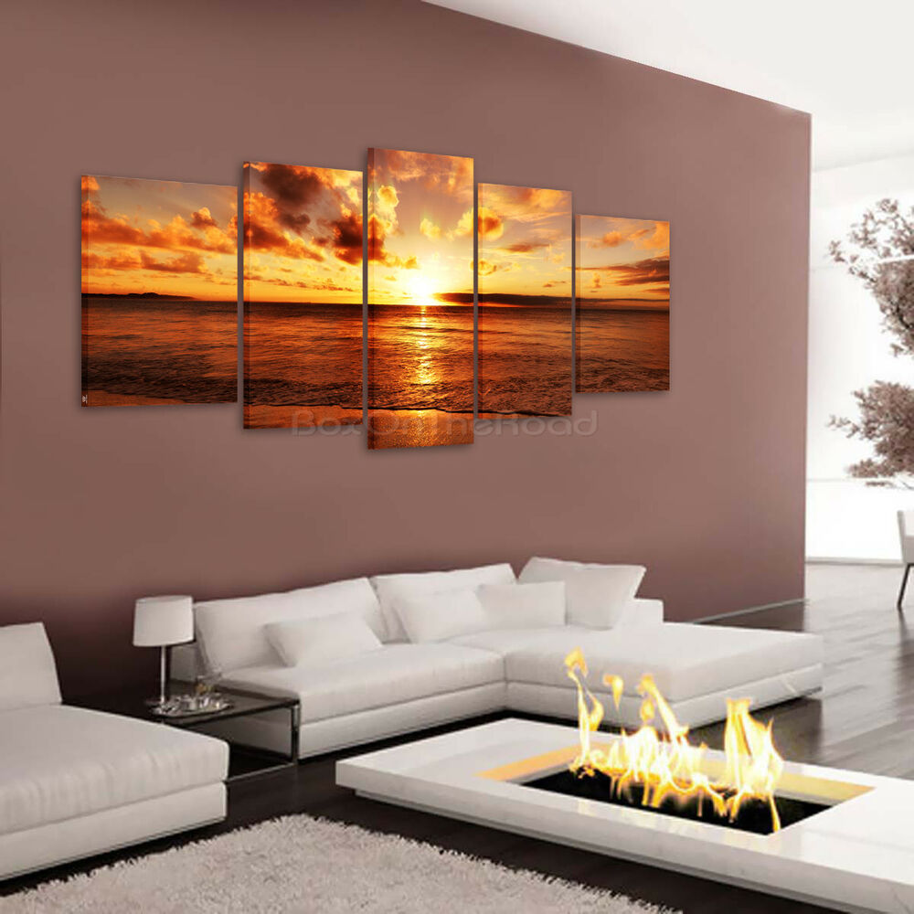 Sea Sunrise HD Canvas Print Home Decor Wall Art Painting
