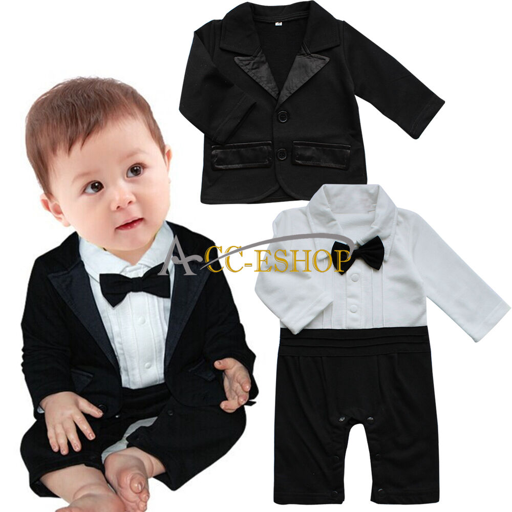 Newborn Baby Boys Formal Suit Tuxedo Gentleman Romper Coat