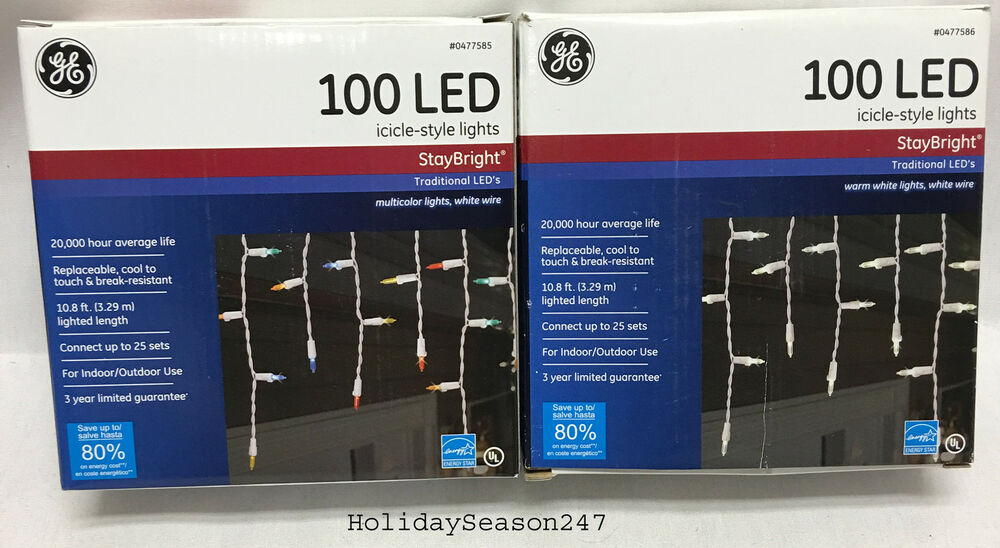 GE StayBright 100 Traditional LED M5 Icicle Lights Holiday Christmas Decorati