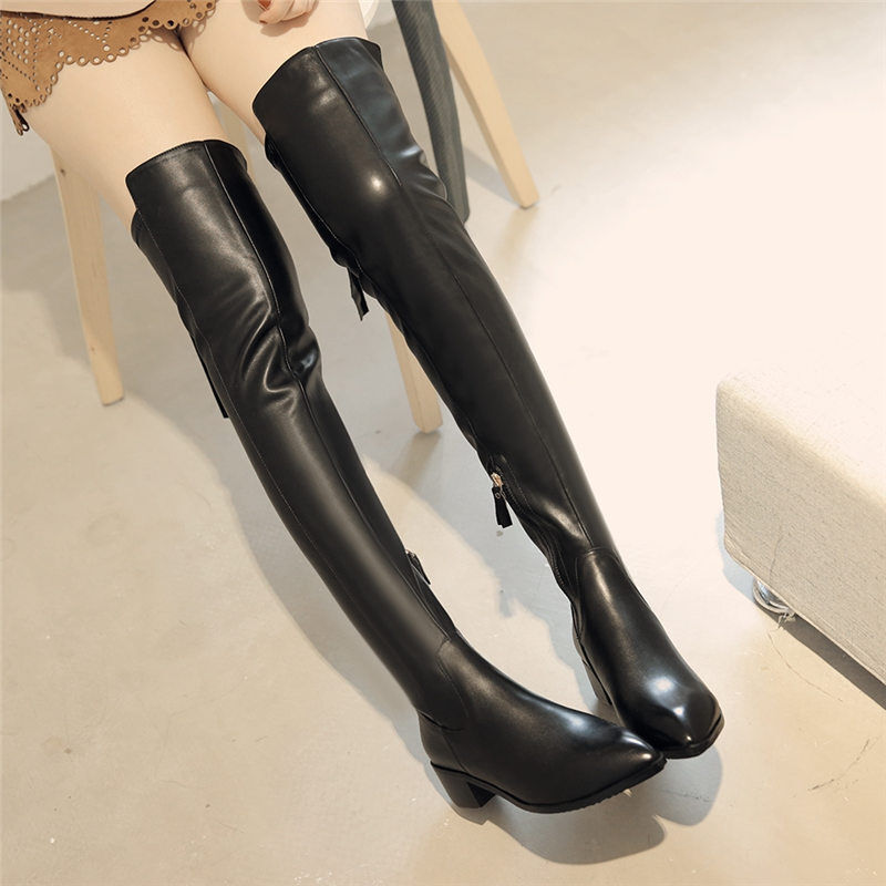 s cow leather thigh high the knee flat