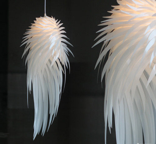 Modern Iracus White Feather Wing Ceiling Light Pendant Lamp Chandelier Fixture Ebay