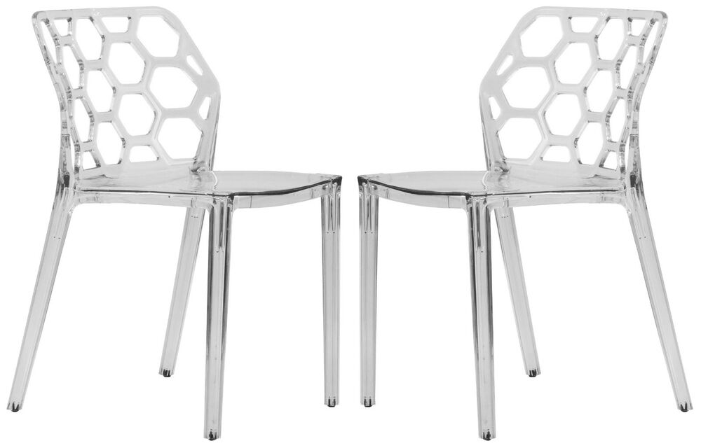 Dynamic Modern Acrylic Dining Chair In Clear Set Of 2 EBay
