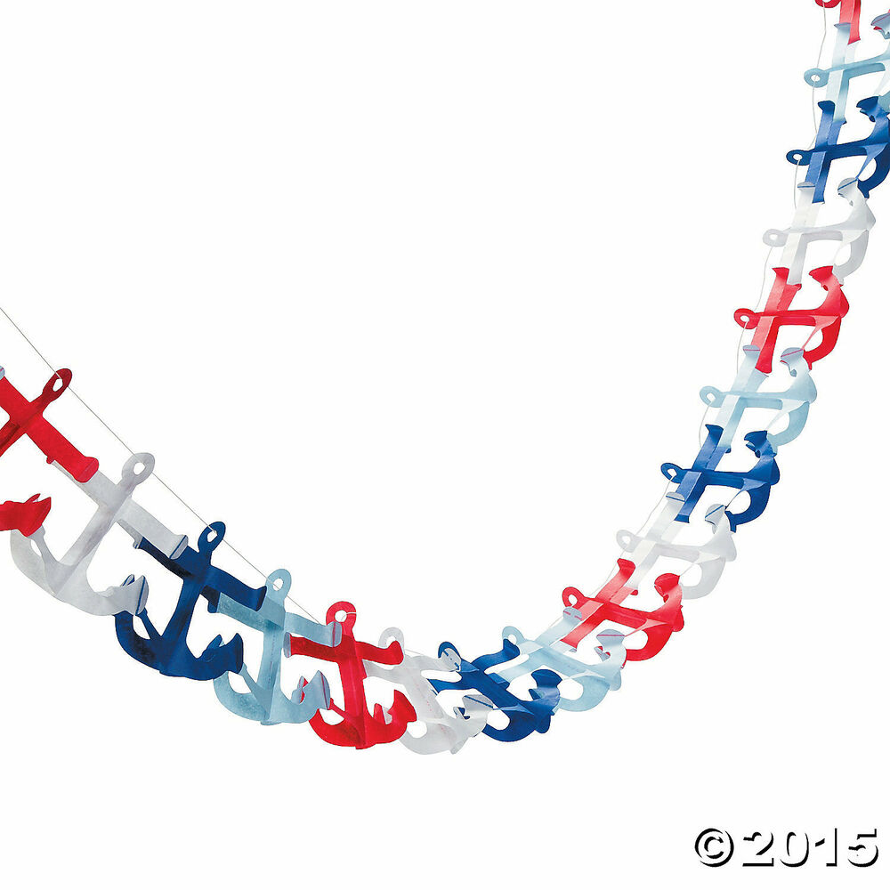 Nautical anchor garland 4 3 4 x 108 sailor nautical for Anchor decoration