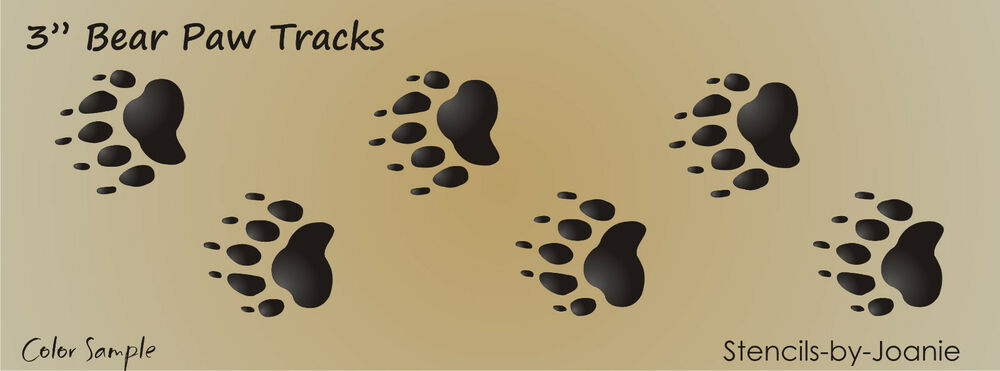 bear footprints template - 3 bear track stencil paw print border cabin lodge rustic