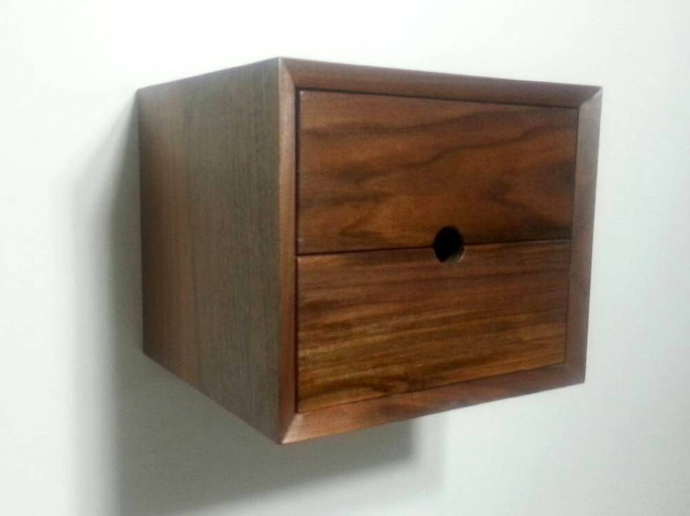 Custom 2 drawer floating nightstand shelf end table walnut for Wall shelf nightstand