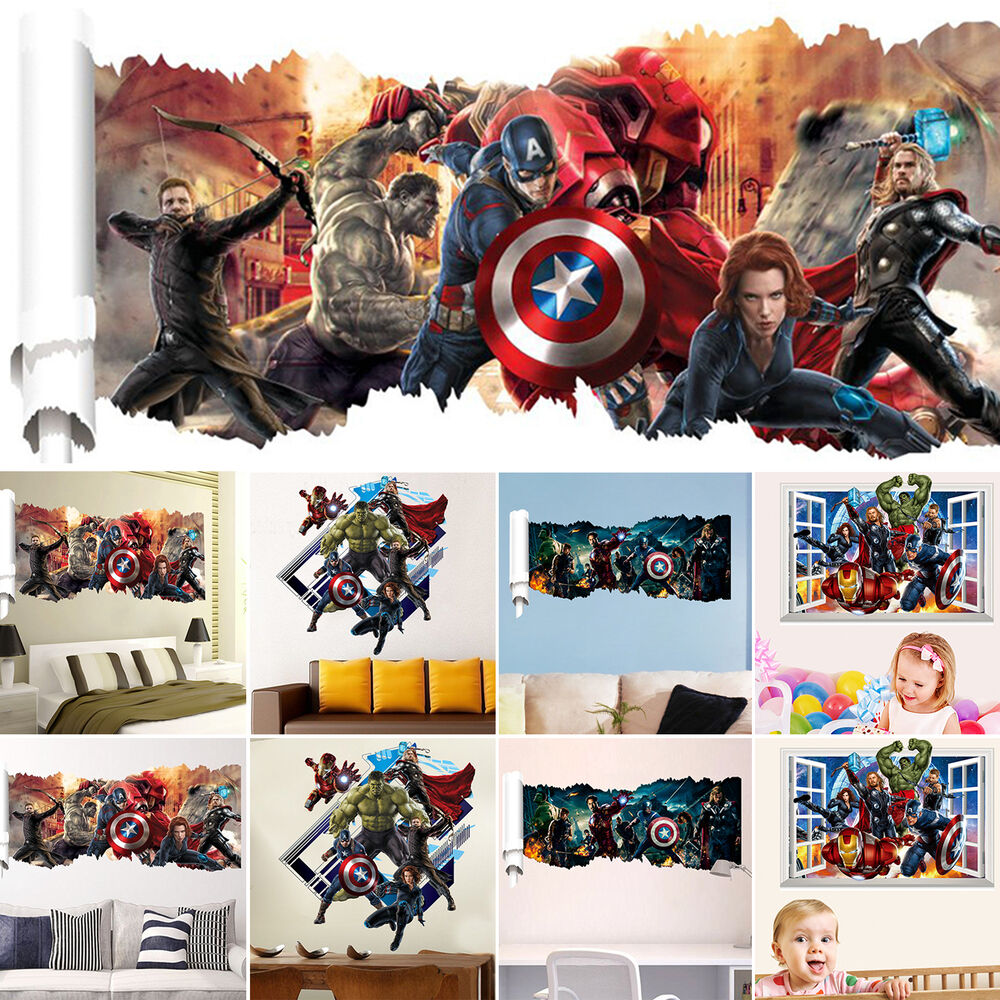 Marvel the avengers 3d removable kids boys room decor wall for Avengers mural poster