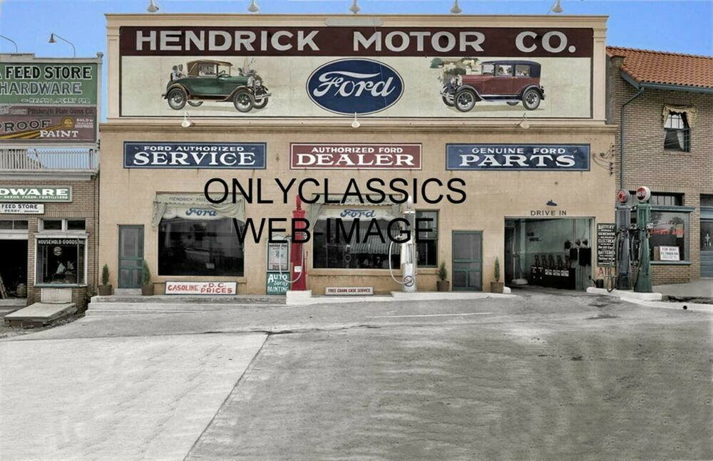 1928 hendrick motor ford auto dealer colorized photo. Cars Review. Best American Auto & Cars Review