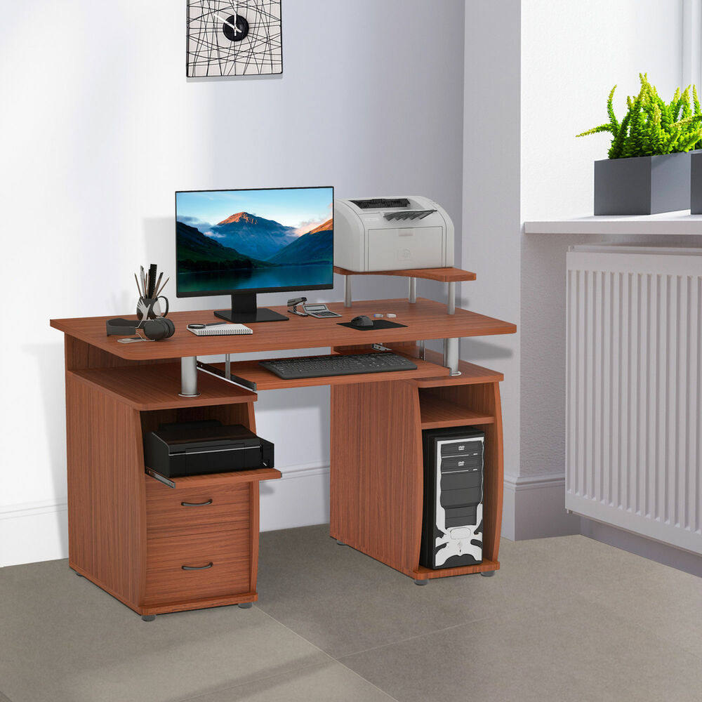 Computer Desk Pc Laptop Wood Table Home Office Study: HOMCOM Computer Desk Study Table PC Desktop W/ Printer