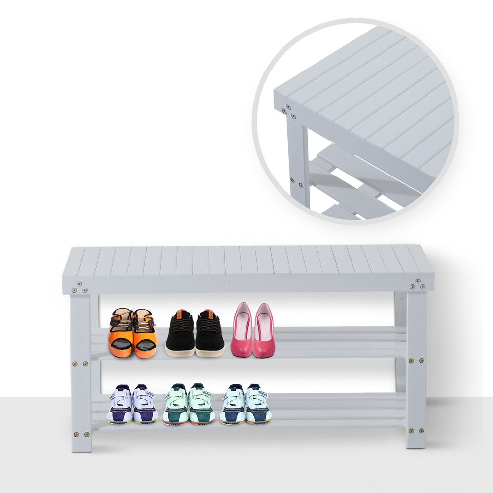 Homcom Wooden Shoe Bench Rack Seat 2 Shelves Storage Organizer Entryway White Ebay