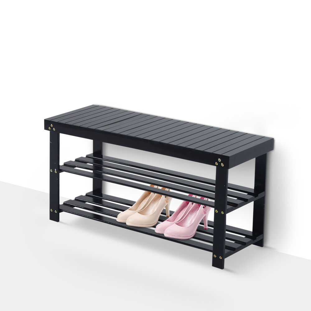 Homcom Wooden Shoe Bench Rack Seat 2 Shelves Storage Organizer Entryway Black Ebay