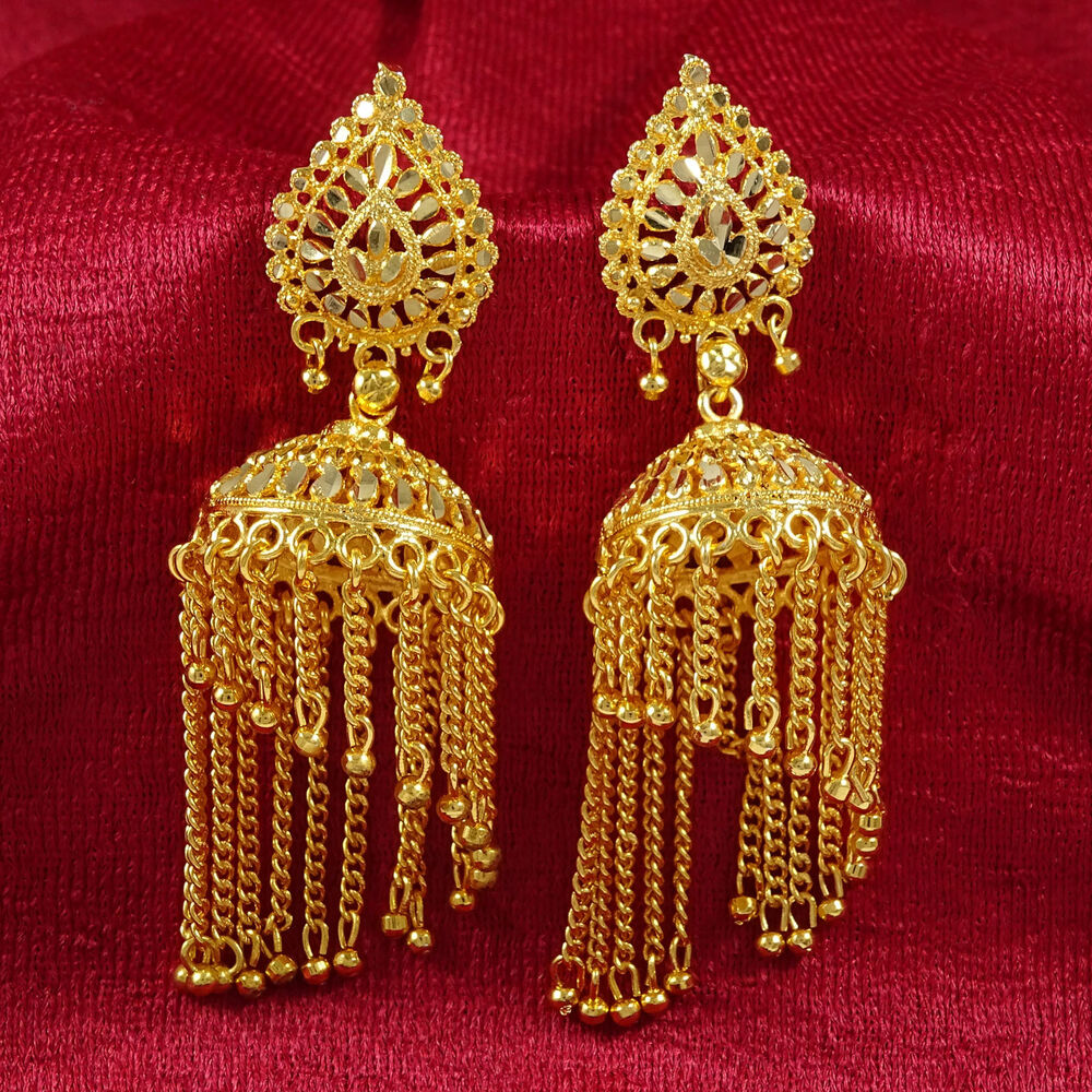 Gold Plated Necklace Earrings Set Indian Traditional: Traditional Indian Ethnic 18K Gold Plated Jhumka Earring
