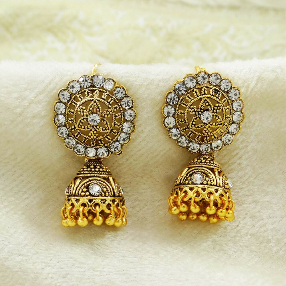 Gold Plated Necklace Earrings Set Indian Traditional: Indian Ethnic Bollywood CZ Gold Plated Jhumka Earrings Set