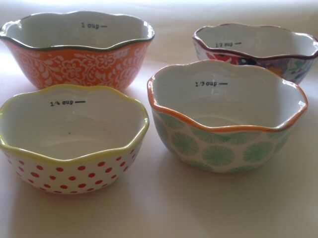 New The Pioneer Woman Flea Market 4 Piece Measuring Bowls
