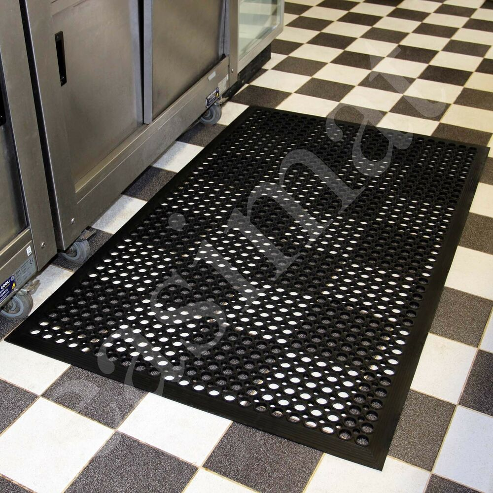 Industrial Rubber Flooring : Large heavy duty industrial rubber bar safety floor mat
