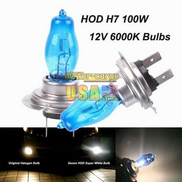 h7 6000k xenon gas halogen headlight white light lamp bulbs 100w 12v. Black Bedroom Furniture Sets. Home Design Ideas