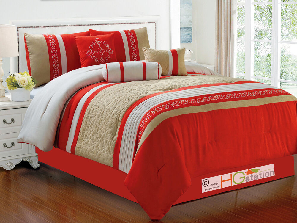 7Pc Quilted Damask Medallion Faux Suede forter Set Red