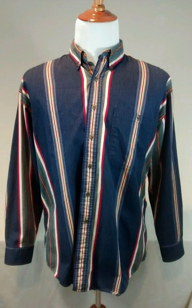 Vintage 90s ralph lauren chaps striped button down collar for Chaps mens dress shirts