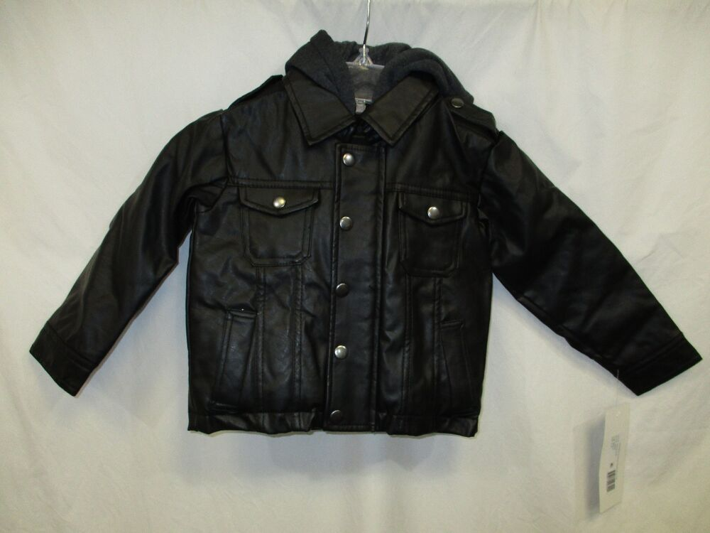 bf60bb96c Rothschild Faux Leather Moto Hooded Youth Toddler Jacket Black 2T 3T ...