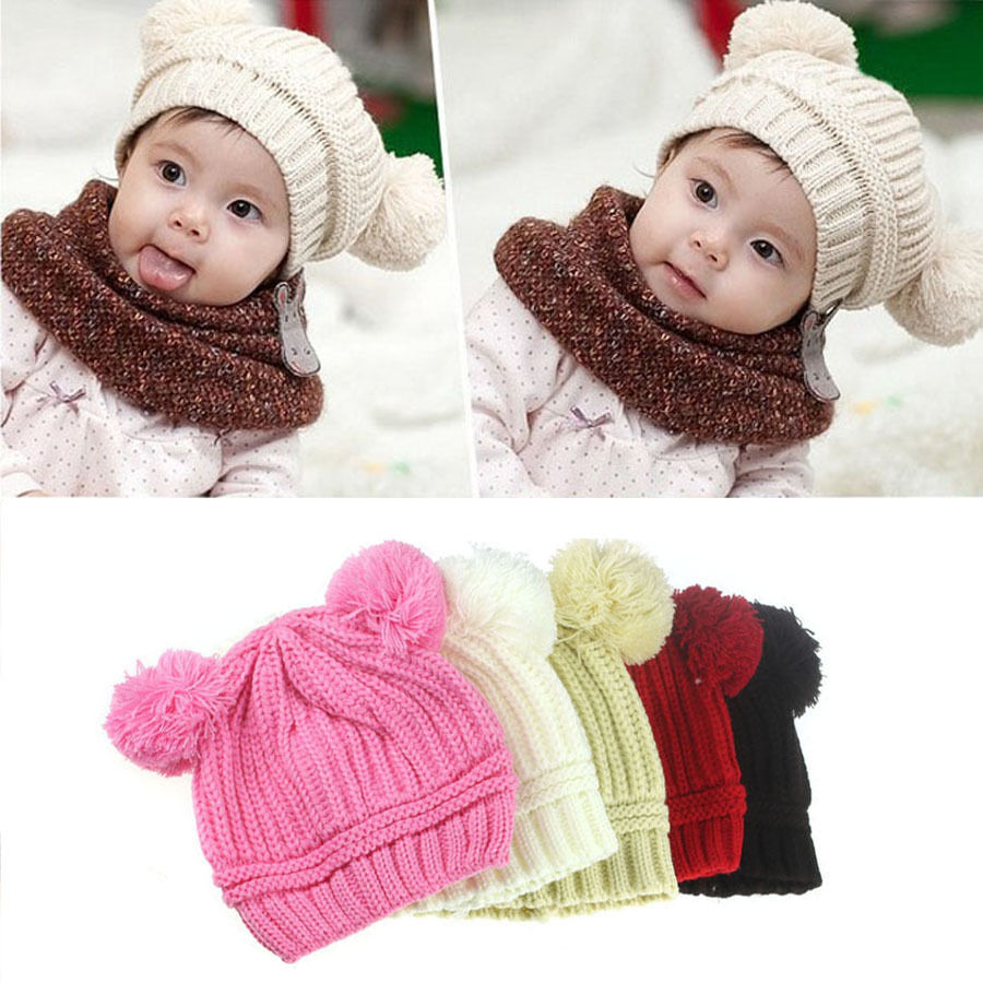 cute baby girl boys winter hats dual balls warm knitted. Black Bedroom Furniture Sets. Home Design Ideas