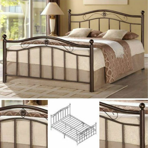 queen metal bed frame bedroom furniture headboard footboard rails slats platform ebay. Black Bedroom Furniture Sets. Home Design Ideas