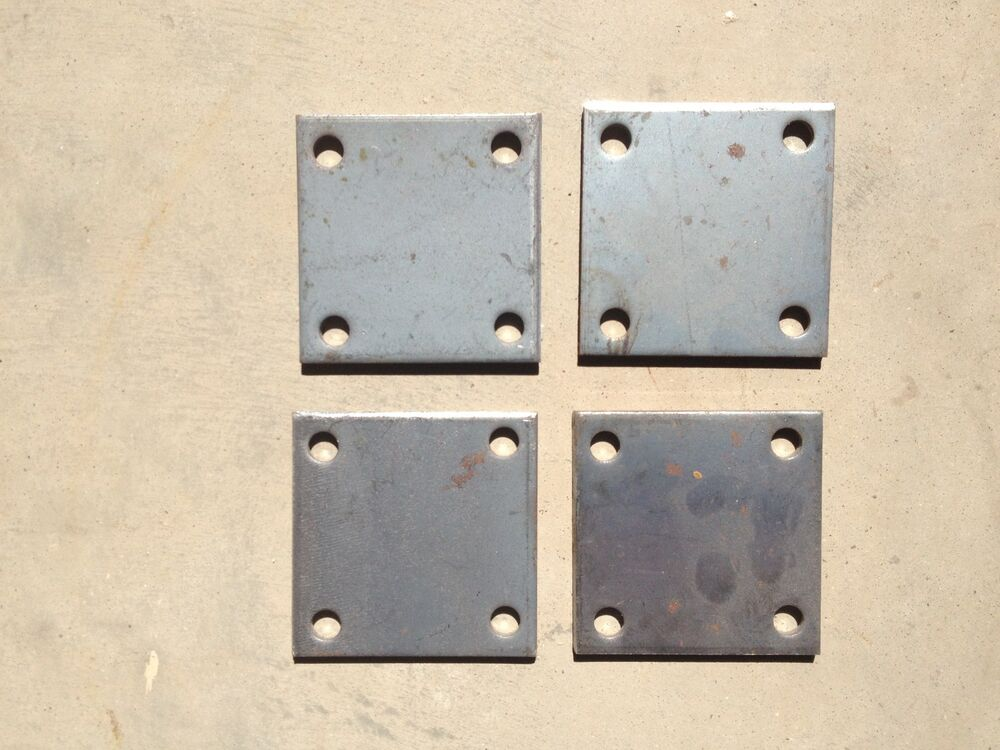 Qty 4 steel base plates 3 16 x 4 x 4 with 7 16 holes for A shear pleasure pet salon