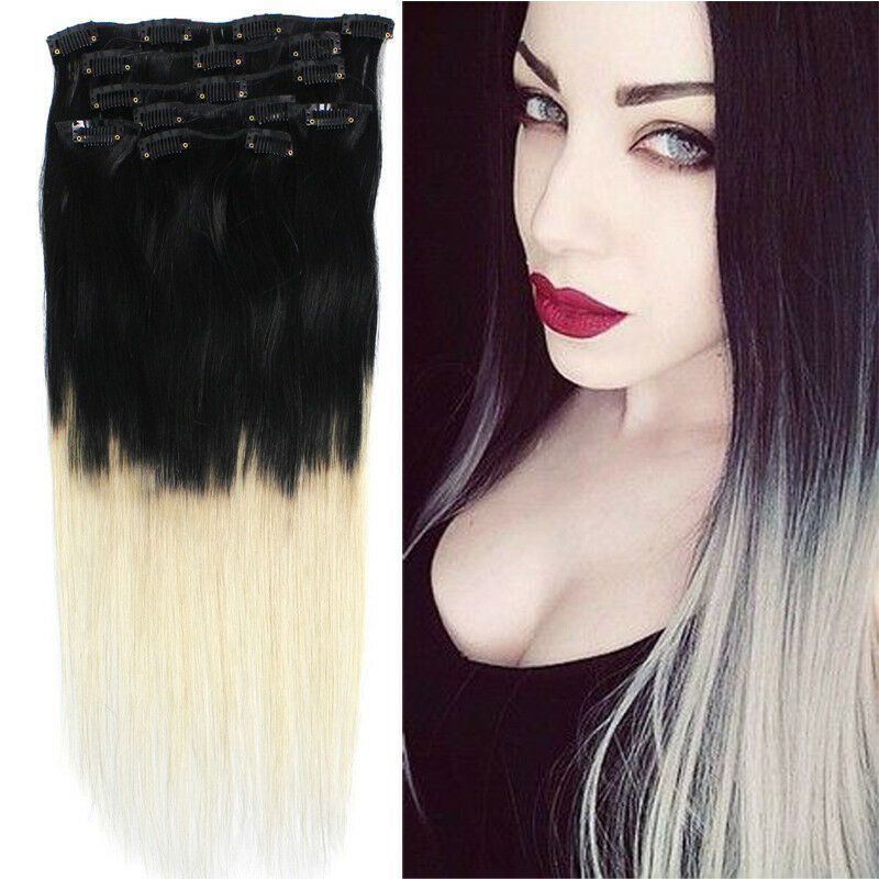 18 7pcs clip in remy straight human hair extensions 70g 1b 613 ombre ebay. Black Bedroom Furniture Sets. Home Design Ideas