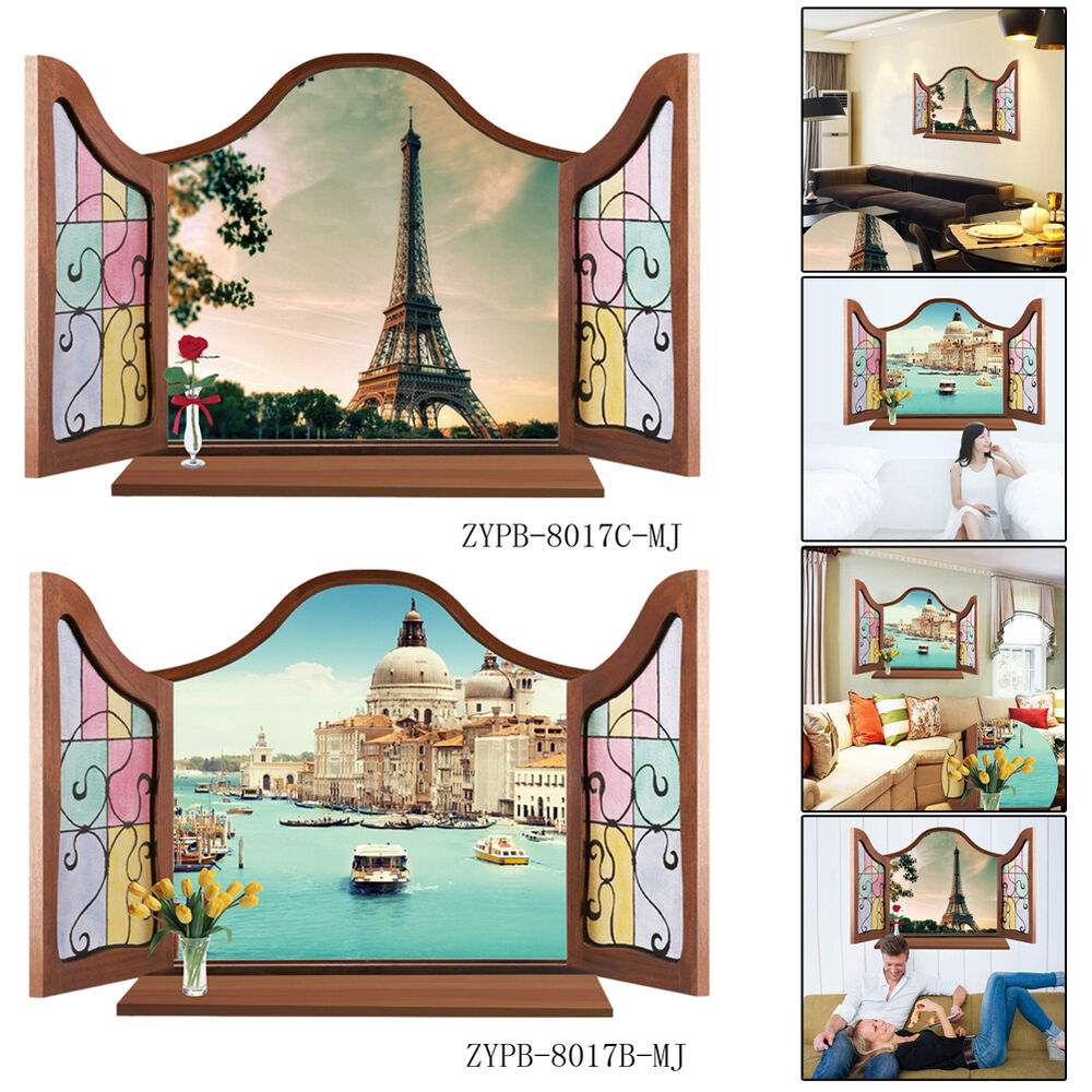 Castle tower 3d window view removable wall sticker art for Castle wall mural sticker