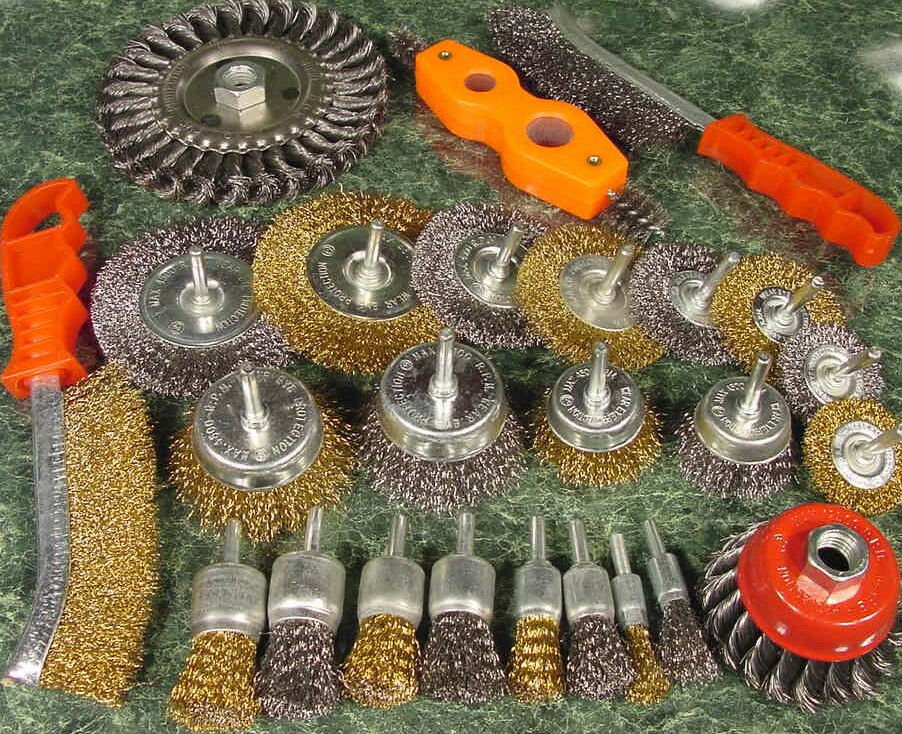 25pc Assorted Wire Wheel And Brush Twisted Cup 1 4 Brass