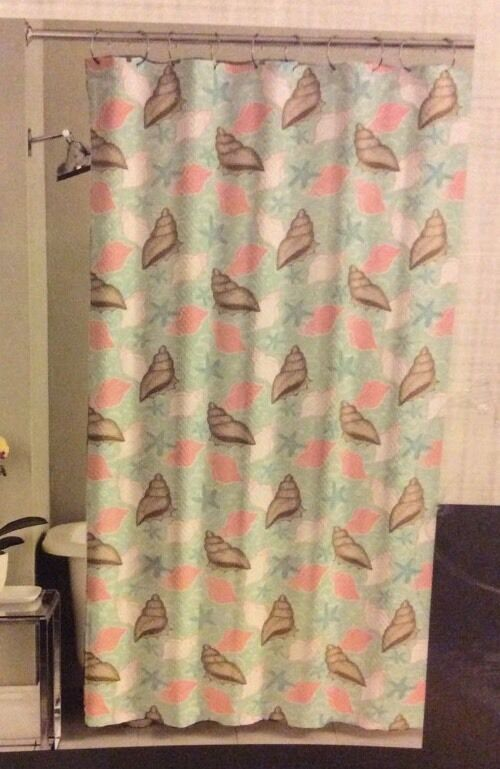 Under The Sea Fabric Shower Curtain Seashells Shell Coral