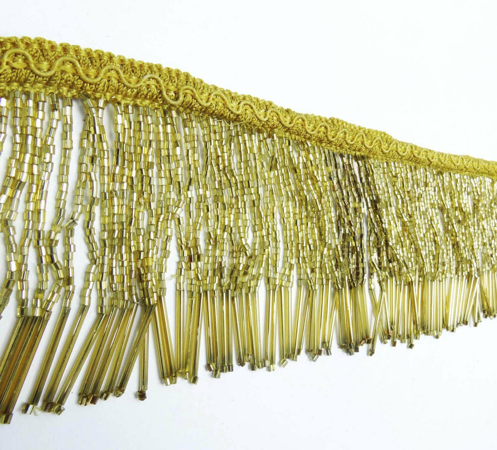 Gold beaded fringe decorative upholstery ribbon curtain for Craft ribbons and trims