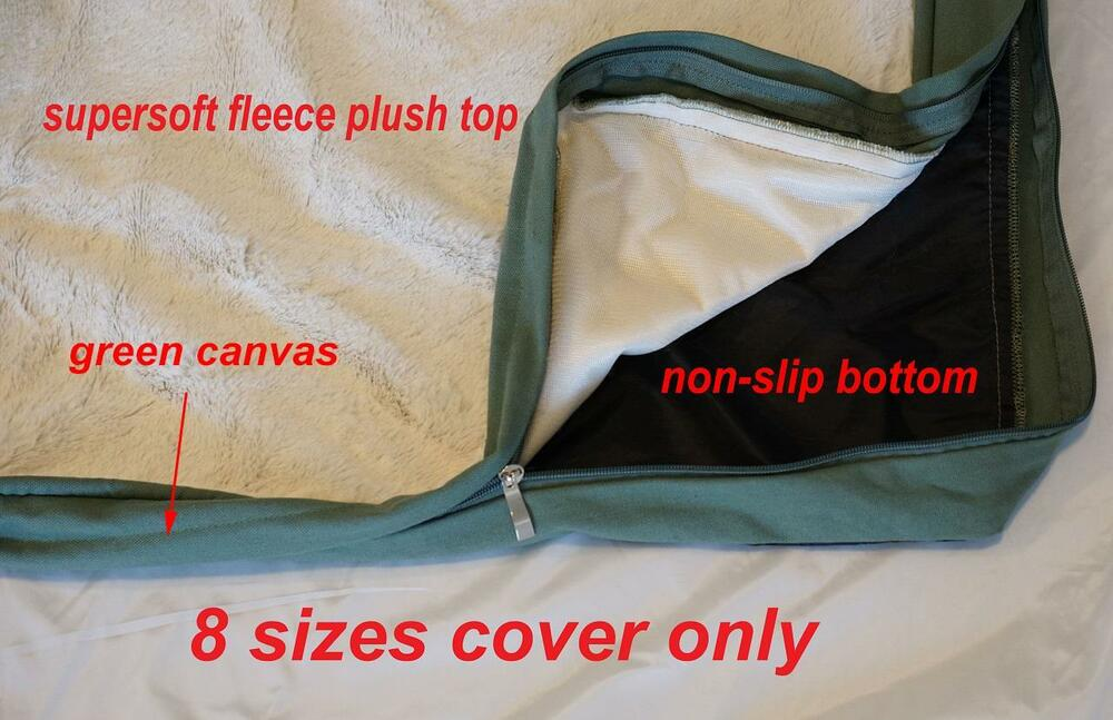 Cream Supersoft Fleece Plush Top Zipper Cover For Dog Bed