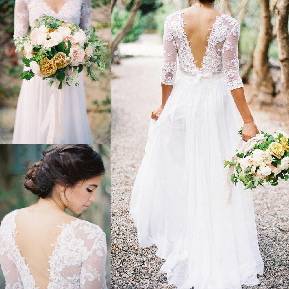 Long Sleeve Lace Wedding Dresses: Bohemia Lace Chiffon Wedding Dresses V-neck 3/4 Long