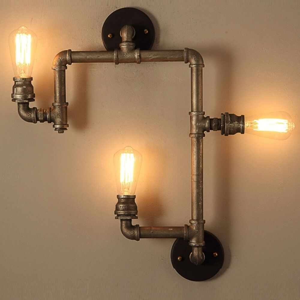 Water Pipe Wall Lamp Vintage Industrial American Country